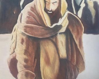 """Catholic Art, Jesus Art, """"Throw the first Stone"""", Religous Art, Pastel Illustration, 8x10 print"""