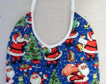 Santa Claus Christmas Bib 100% Cotton Quilted/Absorbent