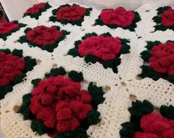Handmade Crochet Rose Garden Lap Afghan FREE SHIPPING