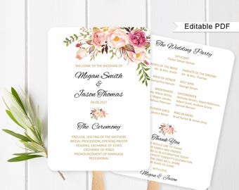 Fan Wedding Program, Wedding Fans Template, Ceremony Program Printable, Wedding Program Template, #A008, Editable PDF