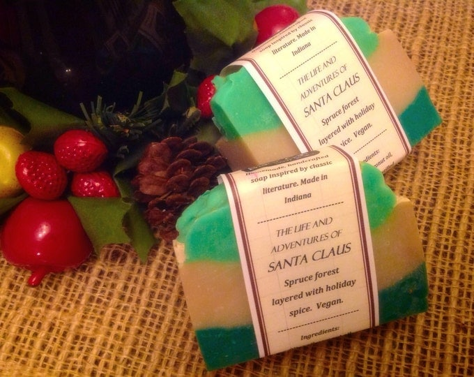 Clearance- The Life and Adventures of Santa Claus Book Soap- Christmas Soap, Handmade Soap, Natural Soap, Cold Process Soap, Hand