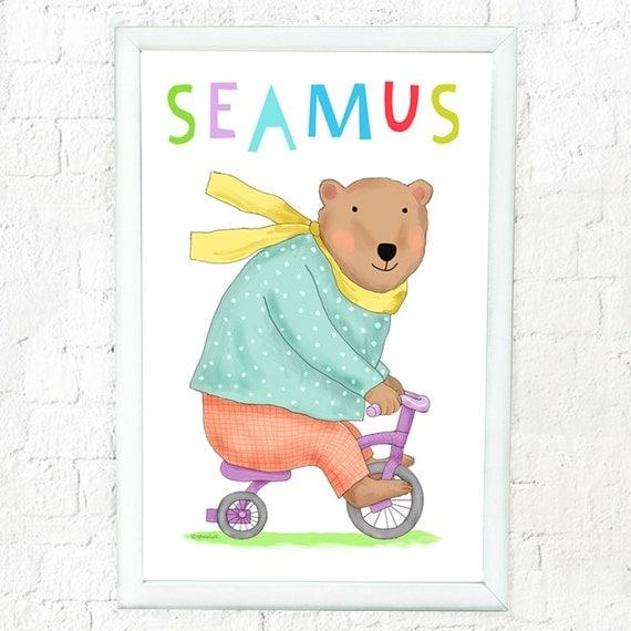 Personalized bear on bike art print for child, custom art for kids, baby shower gift, childrens decor, prints for kids rooms, bear art