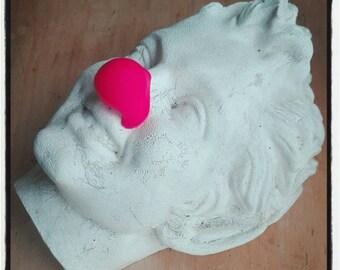 neon red clown nose (Bengali  pink) - round nose - handmade