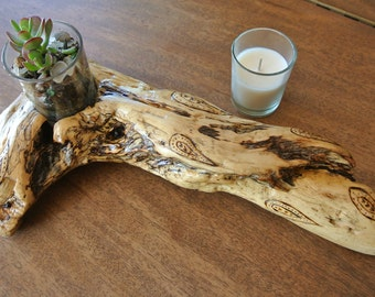 Driftwood votive candle holder wood burned (pyrography) design indoor / outdoor free shipping!
