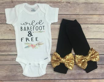 Baby girl - Wild, Barefoot, & Free, Baby shower gift - bodysuit