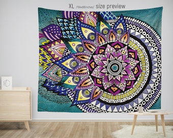Asymmetric MANDALA Tapestry. Hippie Style Tapestries. Bohemian Wall Hanging. 5 Sizes Mandala Tapestries.