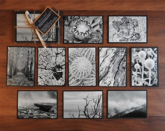 Handmade Photo Card Gift Pack - 10 x Black & White with Pen - JGP05
