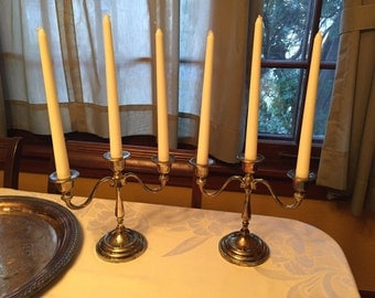 Set of Two Vintage Silver Plated Candelabras