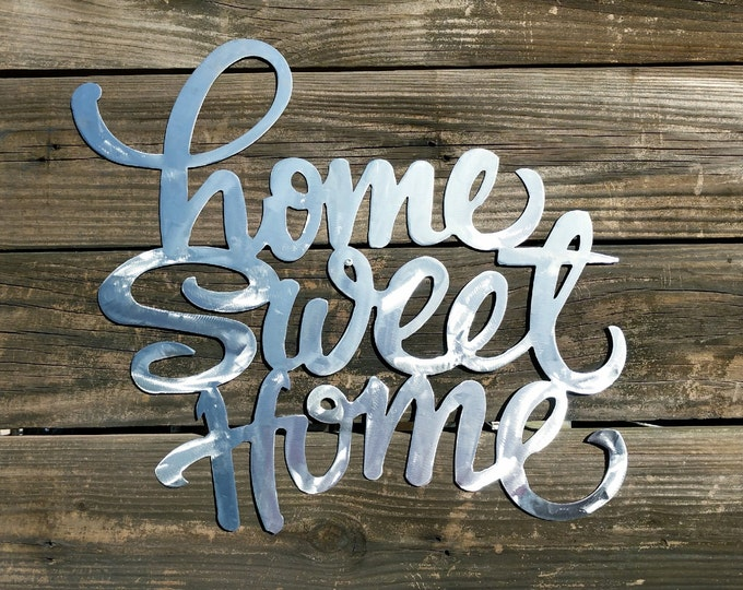 Home Sweet Home Sign, Farmhouse Wall Decor, Shabby Chic, Rustic Sign, Metal Word Wall Hangings, Metal Home Sign, Farmhouse Metal Sign