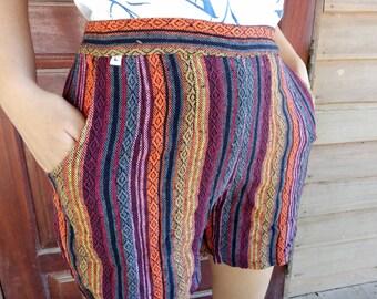 Tribal Shorts high waisted shorts vintage shorts Boho shorts Striped Cotton Shorts Women's Shorts Tribal shorts