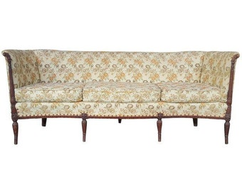Antique Mahogany Sheraton Couch - Vintage Brocade Tufted Sofa - Ivory, Orange Floral Upholstery - Excellent Condition