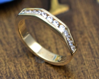 WEDDING gold band ,anniversary gold ring, proposal ring,
