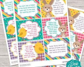 Easter Treasure Hunt printables   Easter hunt game   Easter hunt riddles