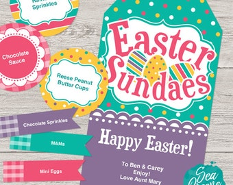 Easter Sundaes printable tags | Personalize and Print