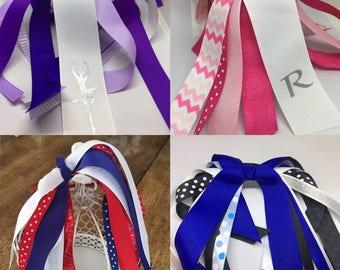Sport bows, Ponytail Streamer, Gymnastics Bow, ponytail, Hair Streamer, Girl Bow , Team Hair Bow, Ponytail holder, Girl Bow, Ponytail holder