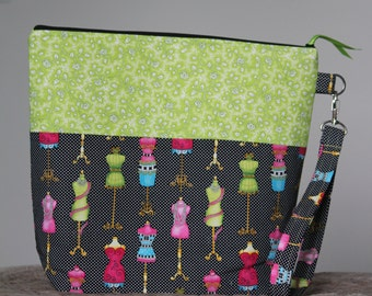 Project Bag, Knitting Bay, Sewing Bag, Cosmetic Bag, Zippered Pouch