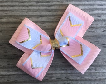 Pink  Gold and White Bow / Pink and Gold Bow