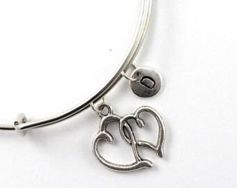 HEART bangle, silver tone heart bracelet, heart charm, initial bracelet, adjustable bangle, personalized jewelry, swarovski birthstone
