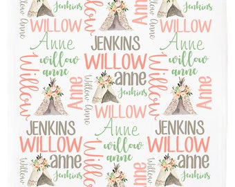 Personalized Baby Blanket, Baby Blanket with Name, Baby Blanket with Teepee