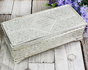 Personalised Engraved Message Antique Silver Plated Jewellery Box - Gift for Her