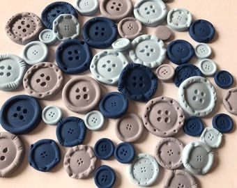 Fondant Buttons 40 Baby Shower Cupcake Topper Cake Decoration USA Seller