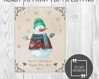 5''x 6,4'' digital Watercolor Christmas card Merry Christmas card Snowman DIY Printable cards New year card Greetings card Winter card
