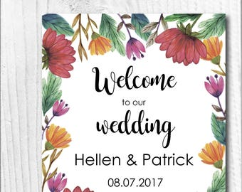 Editable wedding welcome sign Flowers wedding sign Welcome wedding printable Wedding flowers Wedding poster board DIY Template PDF