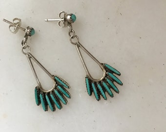 Zuni needlepoint turquoise and silver earrings