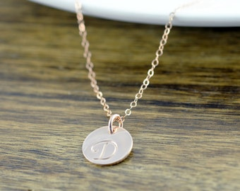 Rose Gold Necklace - Rose Gold Jewelry - Initial Necklace - Bridesmaid Gift - Hand Stamped Initial - Delicate Necklace - Layering Jewelry