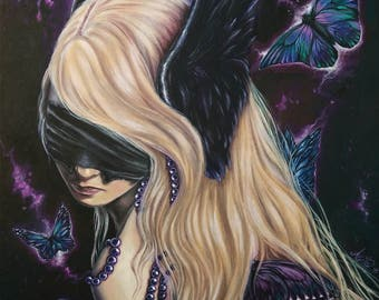 art print blind butterflies fantasy gothic print blonde lady with wings on her ears and pearl necklace