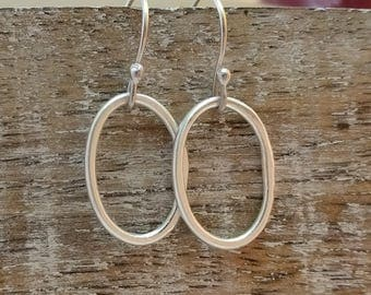 Fine silver loop earrings - fused fine silver earrings - pure silver earrings - silver loop earrings - organic loop earrings
