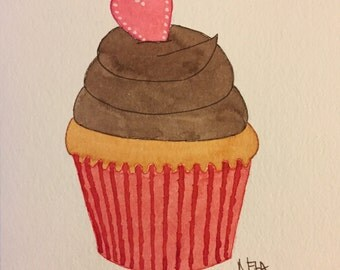 Original Watercolor Cupcake with Heart - Blank Card with Envelope