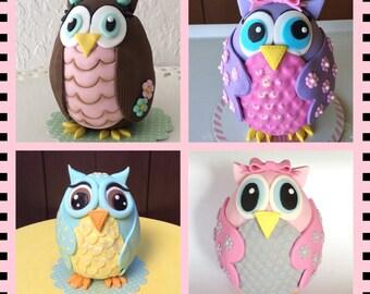OWl birthday cake topper,OWL girl pink cake topper,Fondant OWl cake topper,Baby shower Owl cake topper.