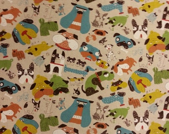Doggie Delight Colour Fabric Cotton/Linen Material By Metre Patchwork Cushions PERFECT FOR BAGS Bunting