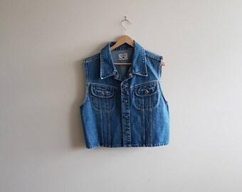 Women's vintage denim vest, vintage denim vest, 90s women's denim, Nevada denim vest, women's 90s clothing