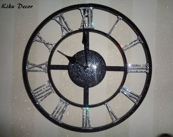 Crystalised metal wall clock with Roman numerals encrusted with luxury Preciosa TM crystals