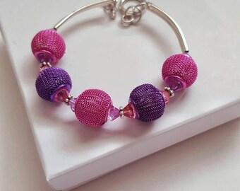 Mesh bead bracelet, Swarovski crystals, handcrafted jewelry, bangle bracelet, memory wire bracelet, basketball wives jewelry, silver jewelry