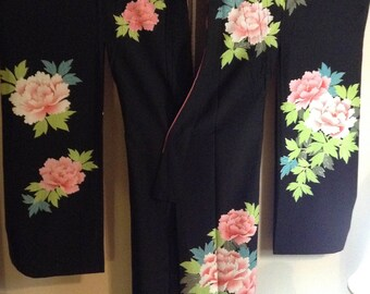 Vintage Japanese Black Wedding Kimono w/Chrysanthemum Design