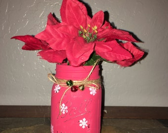 Christmas Mason Jar, *Painted Mason Jars, *Christmas Home Decor, *Rustic Mason Jar Decor, *Christmas Shabby Chic Decor, *Housewarming Gift