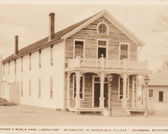 Edison's Menlo Park Laboratory - Re-Erected in Greenfield Village Dearborn Michigan Vintage Picture Postcard mi246