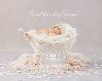 Vintage Newborn Digital Background - Rose Petal Carriage in Cream