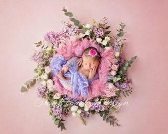 Newborn Digital Backdrop - instant download - Lila flower nest