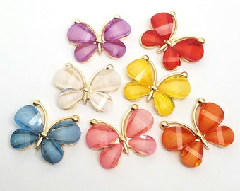 7pcs- 30mm butterfly cabochon gold alloy acrylic flatbacks AB pendant charm accessories kawaii jewelry supply decoden supplies phone case