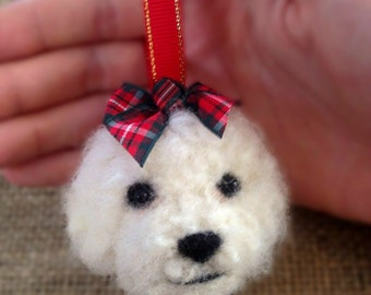 Needle Felted Bichon Frise Puppy Dog Festive Christmas Tree Bauble Hang-Up Gift Plushie Ornament