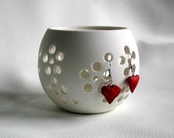 red heart leather earrings original design gift for her
