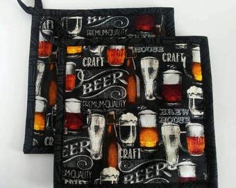 Beer Pot Holders, Beer Hot Pads, Fabric Trivets, Quilted Pot Holders, Gift for him