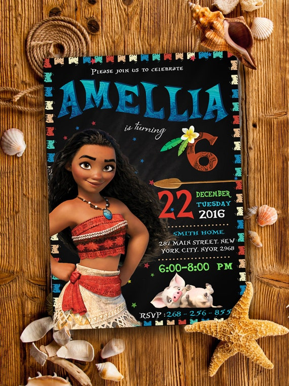 Printable Moana Birthday Party Invite
