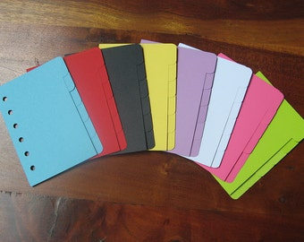 Pocket Size Planner Dividers for Filofax, Kikki K, Debden, etc. Multiple Colours to Mix and Match