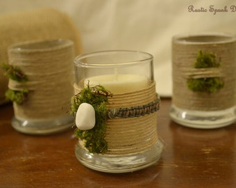 Spanish Moss and Hemp Votive Glasses, Set of 3, Table Centerpiece, Includes Soy Candles, Scent Options