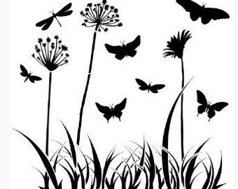 Reusable stencil Butterfly meadow - USA